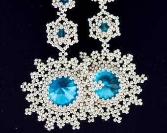 Handmade beaded earrings Swarovski crystal earrings beaded jewelry design fashion jewelry gift for her modern style earrings New Year's gift