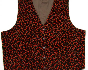 Vintage Velvet Flower Print Vest 42 S