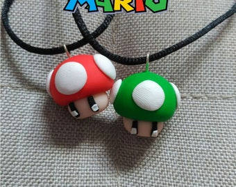 Super Mario - red and green mushrooms