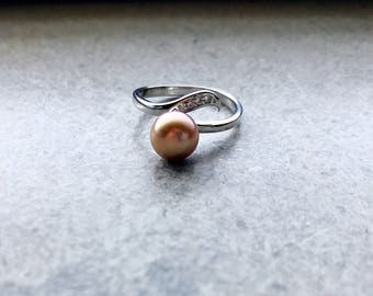 Adjustable Ring Purple Gold Freahwater Pearl 925 Silver