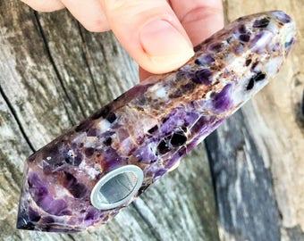 Amethyst Quartz Crystal, Purple Amethyst Pipe, Crystal Pipe, Girly Pipe, Gemstone Pipe, Smoking pipe, crystal healing, chakra healing pipe