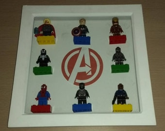 Lego Frame Mini figure Display Case, Avengers logo back ground. Specifically designed to showcase and fits Lego Mini figures