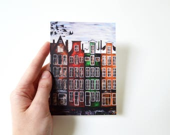 Red house birds painting postcard gift travel postcard city  picture buildings painting fall decor card amsterdam art beautiful color card
