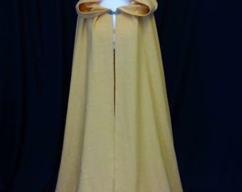 Medieval cloak, renaissance cape, Cape with full Scottish Widow hood, saffron yellow cloak, elven cape