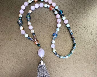Semiprecious natural stone long beaded bracleet with rose quartz, amazonite, and fancy jasper