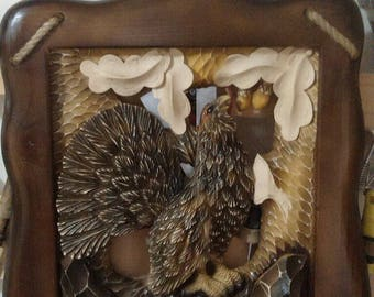 Wood Carved picture сapercaillie Gift for the hunter