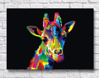 Abstract Giraffe POP-ART - Animal & Birds WPAP A3 A4 Wall Art Prints - Fine Art Posters -  One Free Print When Buying 3 or More