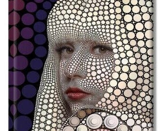 Modern Art Poster Print Lady Gaga Painting Decorative Printed Pictures Circle Portrait Giclee Print Contemporary Artwork 20 x 24 Inch