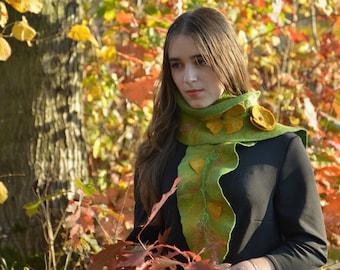 women collar green floral gift yellow flower accessory felt scarf shawl party collar wool merino scarf evening women clothing designer wool