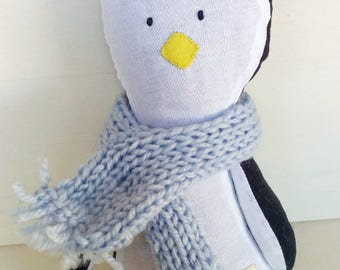 Handmade pinguin - kids gift - scarf - knitting - plush animal - cloth doll - rag doll - heirloom doll - art doll - wool - kids decor - felt
