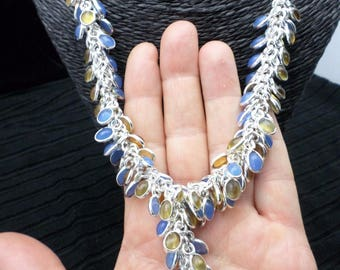 SILVER plated NECKLACE, chalcedony and Quartz Citrine (CO54)