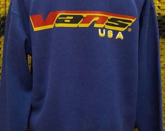 Vintage 90s VANS  / Vans Skateboards / Vans USA / Big logo on the back / Medium size sweatshirt (B7)