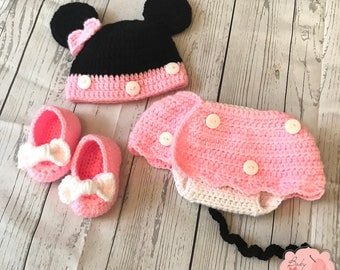Disney Minnie Mouse Ears Inspired Infant Newborn Baby Outfit Beanie Hat Booties Shoes Diaper Cover Skirt Crochet Photography Photo Prop