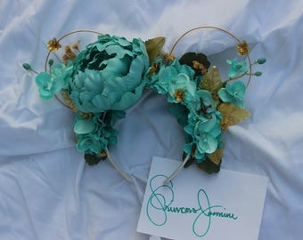 Princess Jasmine Inspired Floral Wire Minnie Ears, Mickey Ears, Floral Mickey Ears, Floral Wire Ears, Mouse Ears, Disney Ears, Princess Ears