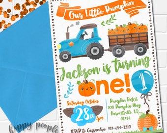 Our Little Pumpkin Invitation Pumpkin Birthday Invitation Boys First Birthday Invitation Fall Birthday Invitation Blue Pumpkin Invite Boy
