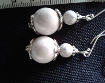 Natural Howlite and Sterling Silver 925 earrings