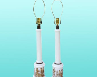 Mid-Century Table Lamps with Neoclassical Motif, A Pair