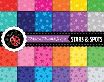 Stars and Spots Pattern Tinted Rainbow Colours Digital Paper Set-Scrapbooking, Craft Use, Digital Backgrounds-Personal and Commercial Use