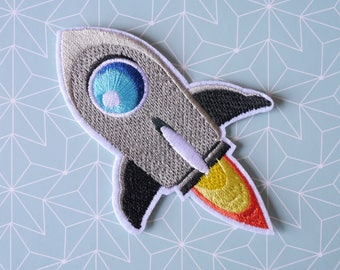 Patch flare gray - Rocket Iron on Patch - deco Patch Thermo - space and Galaxy Patch