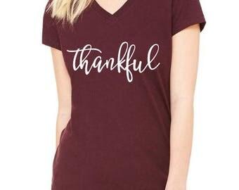 Thankful, Thanksgiving Shirt, Fall Shirt, Grateful, Blessed Shirt, Pumpkin, thankful, B