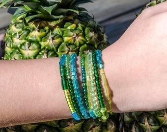 Green/Turquoise wrap bracelet