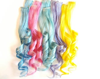 Clip In Pastel Hair Extensions, Pastel Hair, Mermaid Hair, Unicorn Hair, Ombre Hair, Human Hair Extensions, Baby Blue Hair, Hair Weave