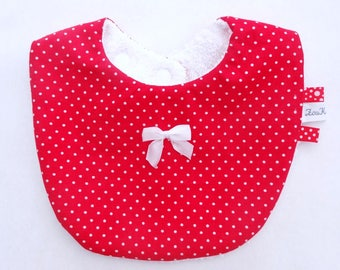 Baby bib red with white polka dots cotton