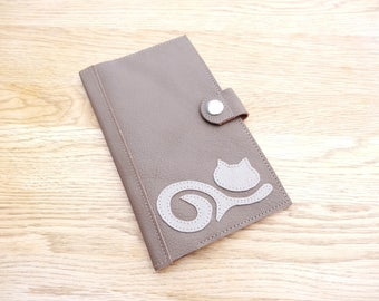 Wallet - wallet in brown leather taupe and cat pattern