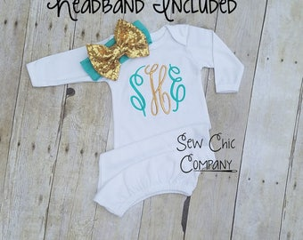 Baby Girl Coming Home, Newborn Gown, Baby Gown, Baby Girl Gown, Personalized Gown, Infant Gown, Going Home Gown, Baby Hospital Gown,