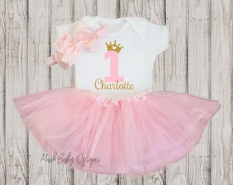 Personalized 1st birthday girl outfit   Baby Girl 1st Birthday Outfit   1st Birthday Girl Outfit pink and gold   1st Birthday Tutu