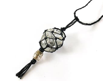 Rutilated Quartz Hemp-Wrapped Adjustable Necklace