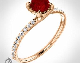 14K Rose Gold Diamond  and Ruby Engagement Ring Wedding Ring Bridal Ring