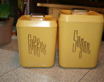 1950's Yellow Coffee Sugar Vintage Bakelite Typographic Canisters