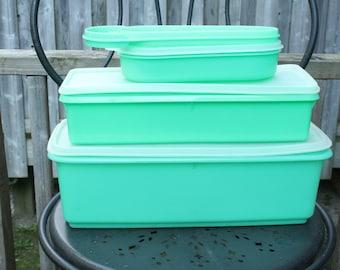 Vintage 3 Pc Nesting Tupperware Set Pastel Teal Green