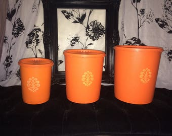 VNTG 70's Tupperware Canister Set of 3 / Orange, Stackable Nesting Tupperware Containers