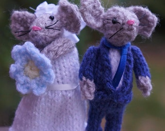 Cute mice wedding cake toppers - with suit - handmade in UK