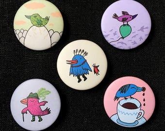 Bird pins, pinback buttons