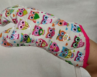 Large Cotton Cooking Glove with Modern Owl motive, handmade pot holder, oven glove