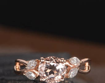Rose Gold Engagement Ring Unique Morganite Ring Wedding Bridal Marquise Moissanite Infinity Split Shank Antique Curved Anniversary Gift Ring