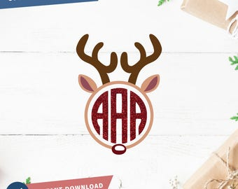 Rudolph Monogram SVG Reindeer Monogram svg  Cricut Silhouette - pdf png svg dxf - Rudolph Red nose Cut file Clipart Holiday Christmas svg