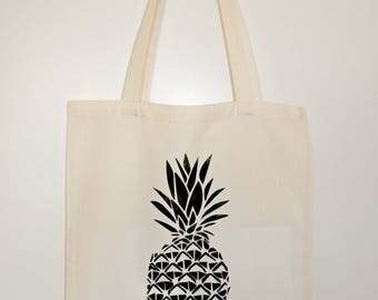Tote bag / Tote / unbleached organic cotton novelty pineapple