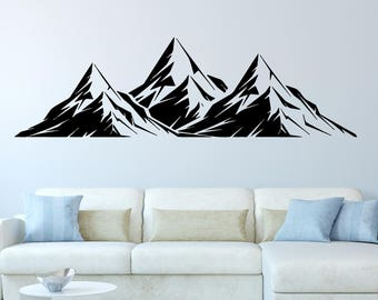 Mountains Decal, Mountains, Wall, Decals, Mountains Sticker, Wall Decals,  Decal Part 47