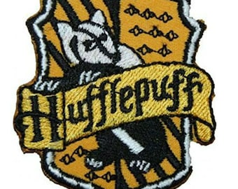 """FREE SHIPPING-Domestic-InspireMeByAudrey Harry Potter Hufflepuff House Crest Embroidered Sew/Iron-on Patch 2.5"""" X 3"""""""