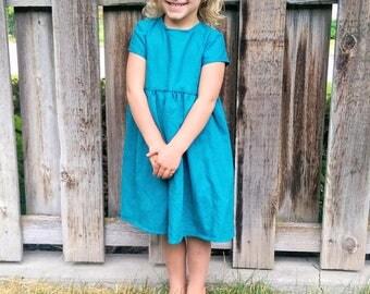 Linen Peplum Dress, Turquoise Linen Dress Toddler, Girls Fall Linen Dress, Peplum Girls Dress, Baby Girl Peplum Dress, Peplum Linen Dress