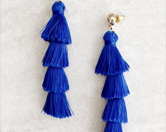 Tassel Earrings Fringe Tassel Earrings, Blue Tiered Tassel Earrings, Layered Tassel Earrings