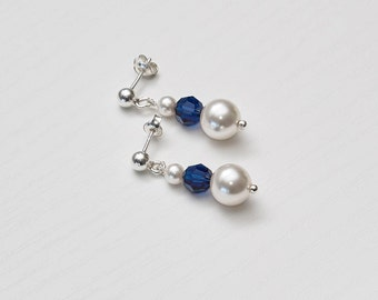 Swarovski White Pearl and Blue Crystal Sterling Silver Earrings Short, Bridesmaids Earrings, White Pearl, Navy Blue Crystal, Wedding