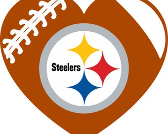 Pittsburgh Steelers Football Heart Monogram digital file for decal for car, window, yeti SVG PNG DXF and more!!