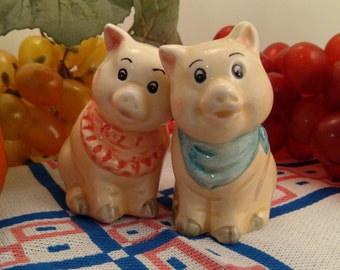 Country Pig Salt & Pepper Shakers, Pink and Blue Bandanas