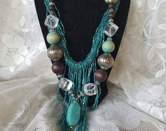 Wood and Bead necklace combo