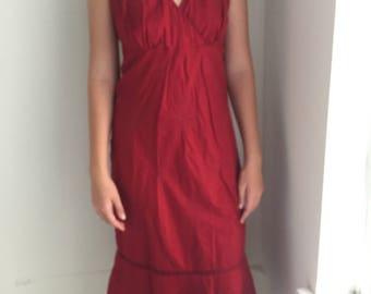 J. Crew Wine Paisley Embroidered Halter Dress